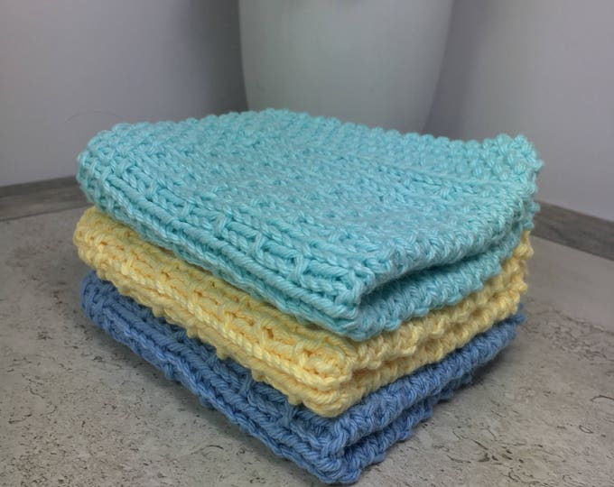Hand knit cotton washcloth set - spa cloth set - natural skincare - baby washcloth set - eco friendly skincare - gifts for her