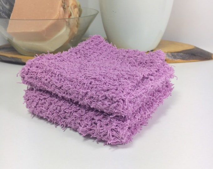 Knit washcloth / scrubby washcloth / free shipping / ready to ship / lavender / washcloth / skincare