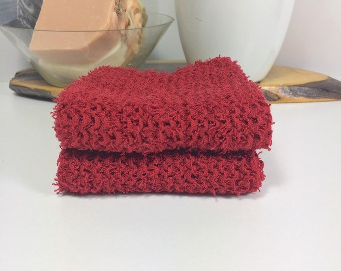 Knit washcloth / scrubby washcloth / free shipping / ready to ship / red washcloths / washcloth / skincare