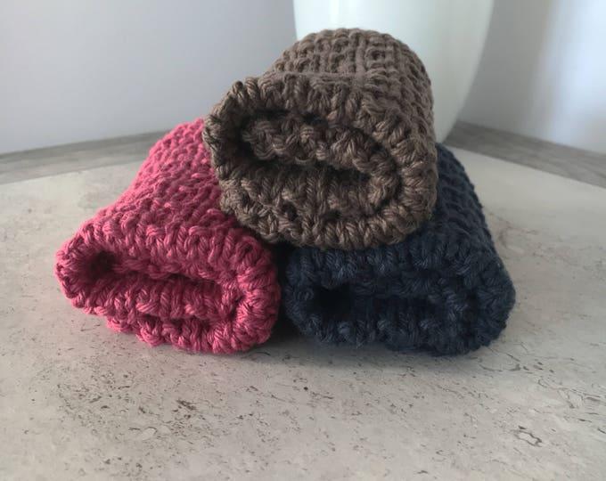 Knit dishcloth set - knit washcloth set - red brown and blue dishcloths - housewarming gift - ready to ship - hostess gift - dishrag