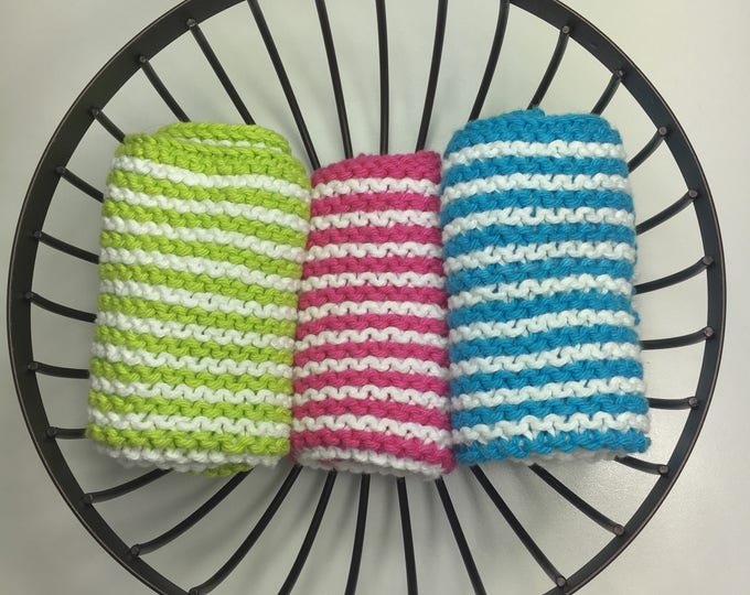 Hand knitted cotton dishcloth set - boho kitchen - knit dishcloth - hostess gift - housewarming gift - eco friendly cleaning
