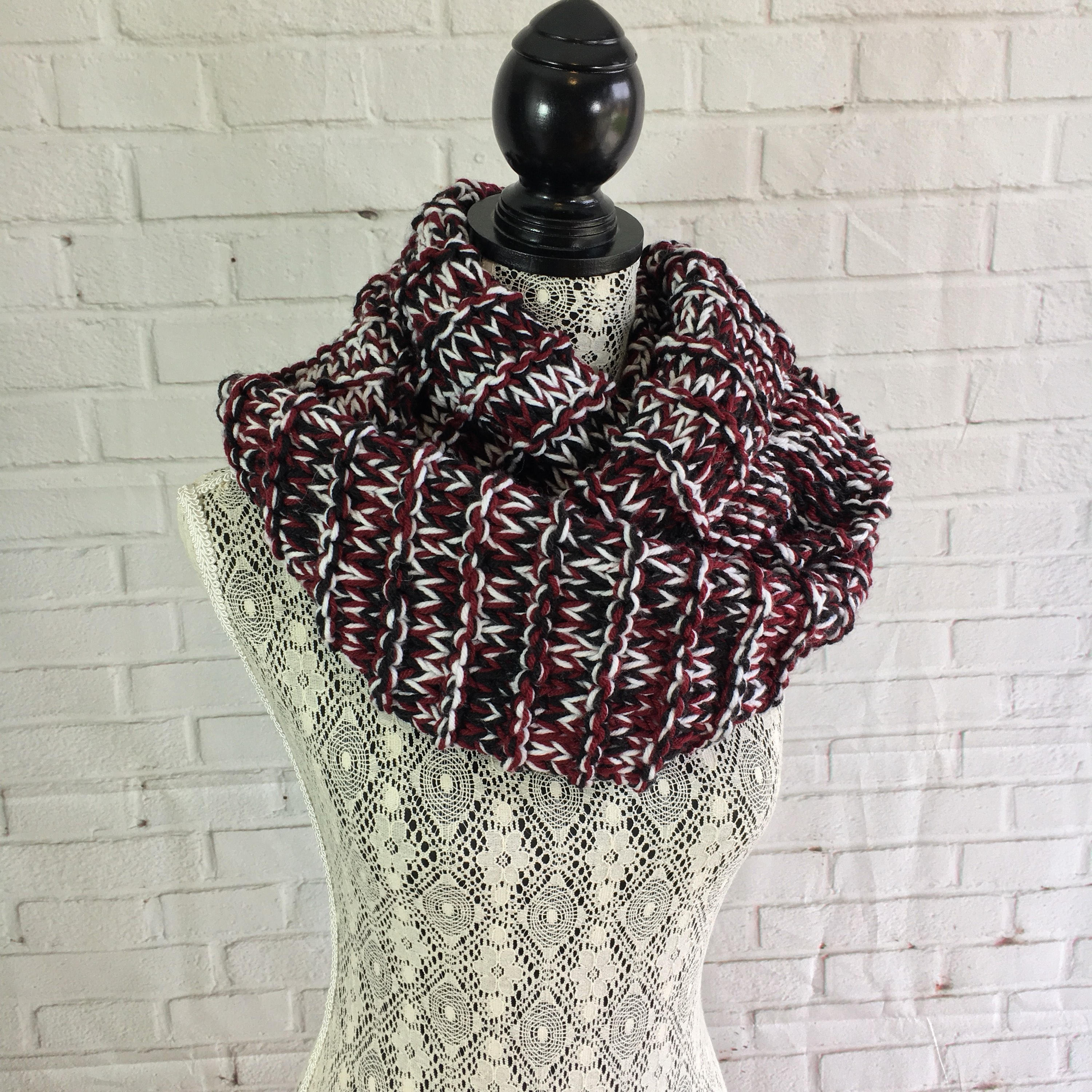 Black white and maroon triple knit infinity scarf / chunky knit ...
