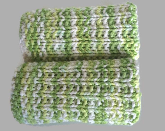 Green knit dishcloth / dishrag / cotton dishcloth / cotton washcloth / eco friendly gift / boho / knit washcloth / boho  decor