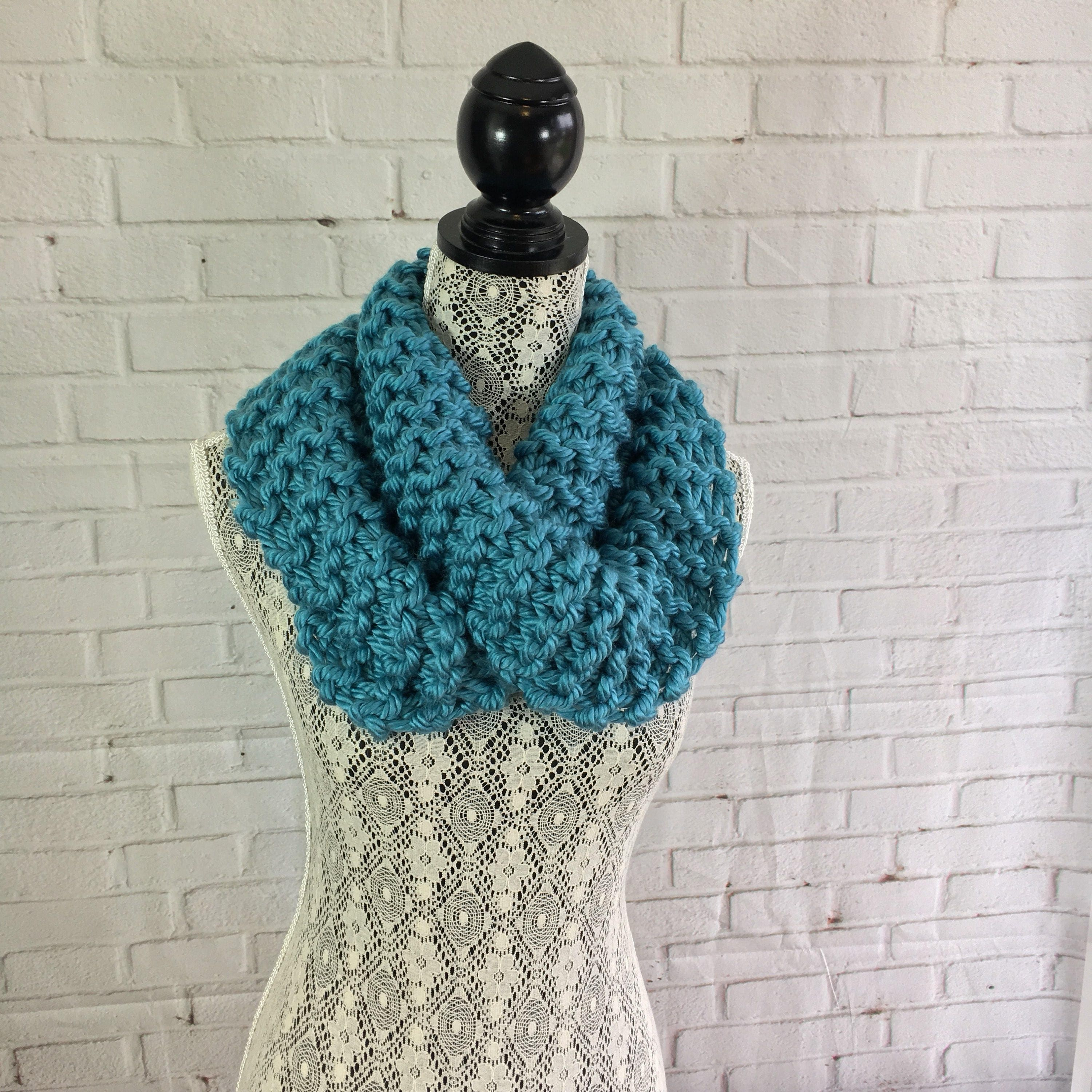 Hand Knitted Infinity Scarf Scarf Teal Scarf Gifts For Her Cowl