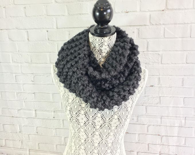 Sale / Charcoal gray / knit infinity scarf / ready to ship / knitted scarf / made in Canada / charcoal gray scarf / free shipping