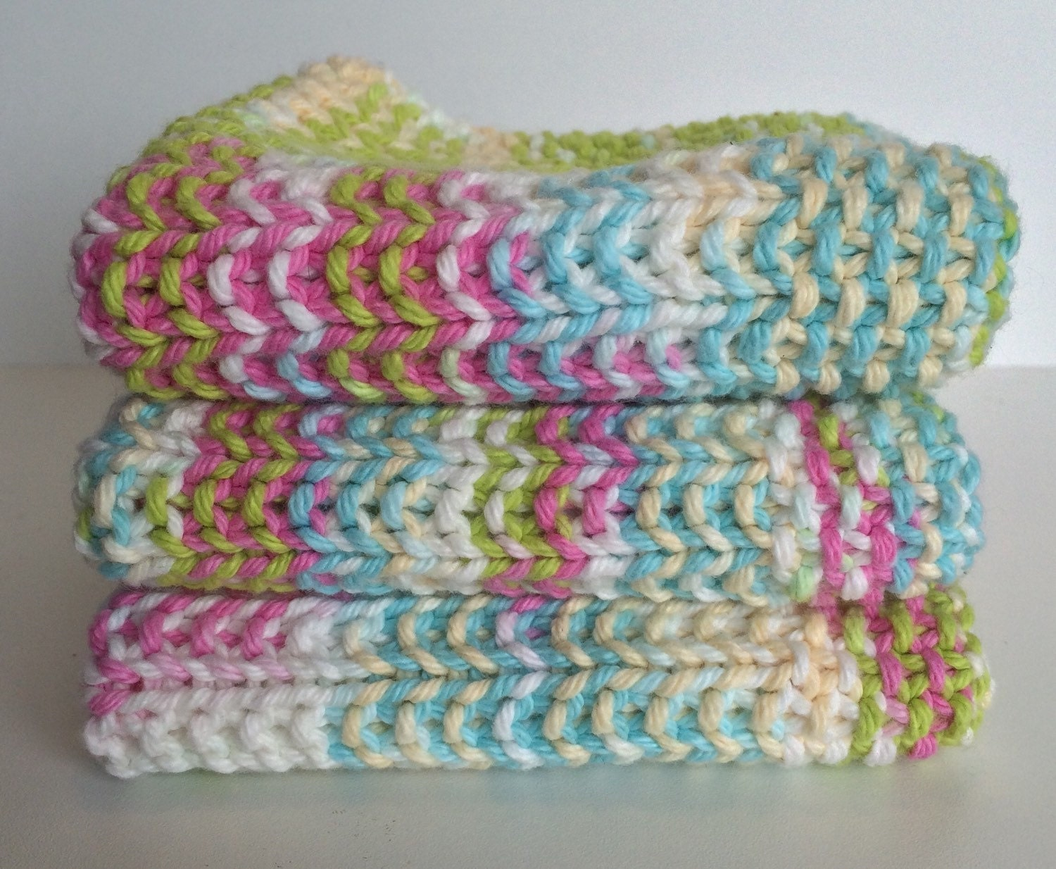 Knitted Washcloth Gift Basket Ideas Baby Shower Gift Knit Dishcloth Handmade Baby Gift Eco Friendly Gift Baby Gift Pastels