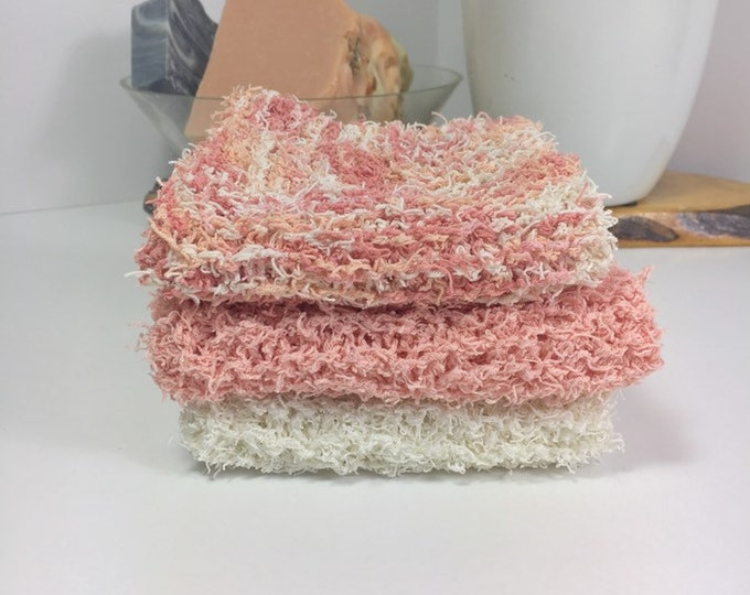 Knit scrubby washcloth / knit scrubby dishcloth / ready to ship / free shipping / gift for her / natural skincare / blush pink / skincare