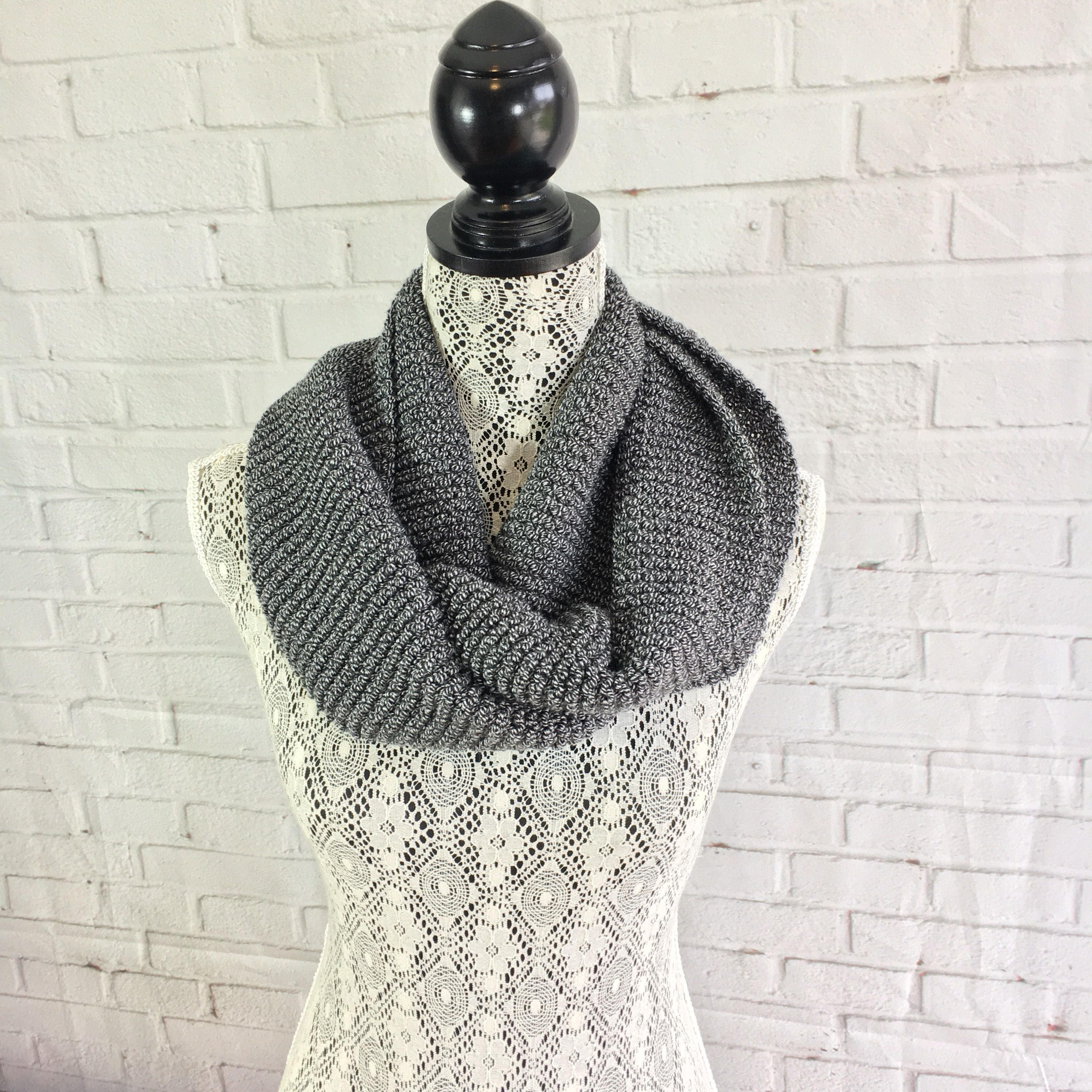 Black And White Infinity Scarf Knit Infinity Scarf Unisex Scarf Knitted