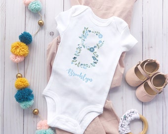 Initial Onesie\u00ae Baby Girl Clothes Custom Baby Onesie Floral Letter B Monogram Onesie Personalized Baby Shower Gift Baby Name Onesie Flower