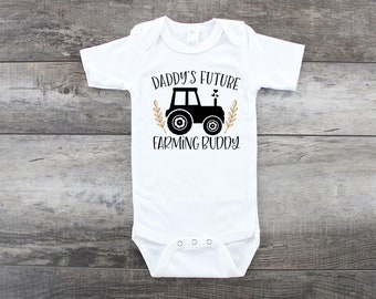 Future Farming Buddy Creeper Bodysuit Baby Shower Gift Funny Boy Girl Family Farm Harvest Corn Wheat Dairy Farmer