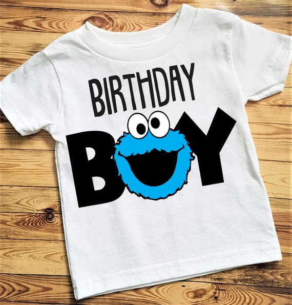 Cookie Monster Birthday Shirt, Sesame Street Birthday Shirt, Birthday Boy Shirt, Cookie Monster Shirt