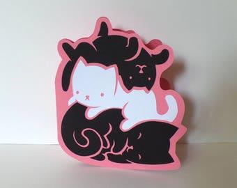 Stack of Kittens Die-cut Greeting Card
