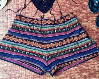 8b137b3cea05 Woven Tribal Shorts Boho Aztec IKat Print Hippies Clothing Bohemian  festival Summer beach Fashion Gift Vegan Unique for Women