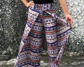 Palazzo Pants Open legs Aztec design Boho print Bohemian Hippie festival Clothing Beach Trousers unique women Summer fashion gifts for women