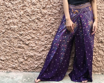 Festival Boho Palazzo pants Front high Slit Bohemian Hippie clothing Gypsy Vegan style Beach summer fashion Mandala Gift women Purple Thai