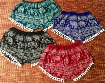 Pom pom Shorts with Elephant fabric Hippie Boho Beach Summer shorts Festival outfit Clothing Bohemian Cute Unique Gift for her lady Colorful