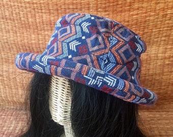 19d0edb7763 Boho Bucket Hat Roll brim Tribal Southwestern Bohemian Hippie Ethnic Style  design Hipster Festival Vegan Gypsy men women Burning man unique