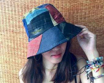 01f22a285f1 Bucket Hat Hippie Festival for Men women Patchwork recycle fabric Aztec  Tribal print Cap Boho Street Style Vegan gift unique one of kind