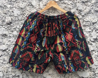 Women Shorts Fair Trade Bohemian Style Print Design Casual Beach Hippie Tribal Rayon Shorts Gypsy Rainbow Yoga Pants PN-01-SHO-20