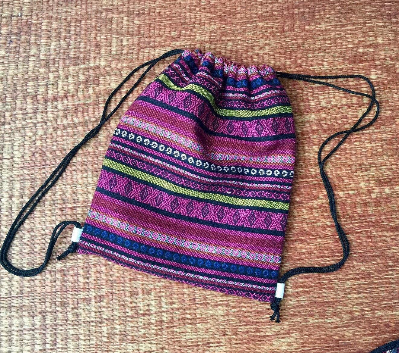 46d0488e9e62 Drawstring backpack Boho Tribal Festival bag Folk Aztec Ikat Woven fabric  Hippie Style Rucksack Gypsy Tote Bohemian Men Hipster Native Black