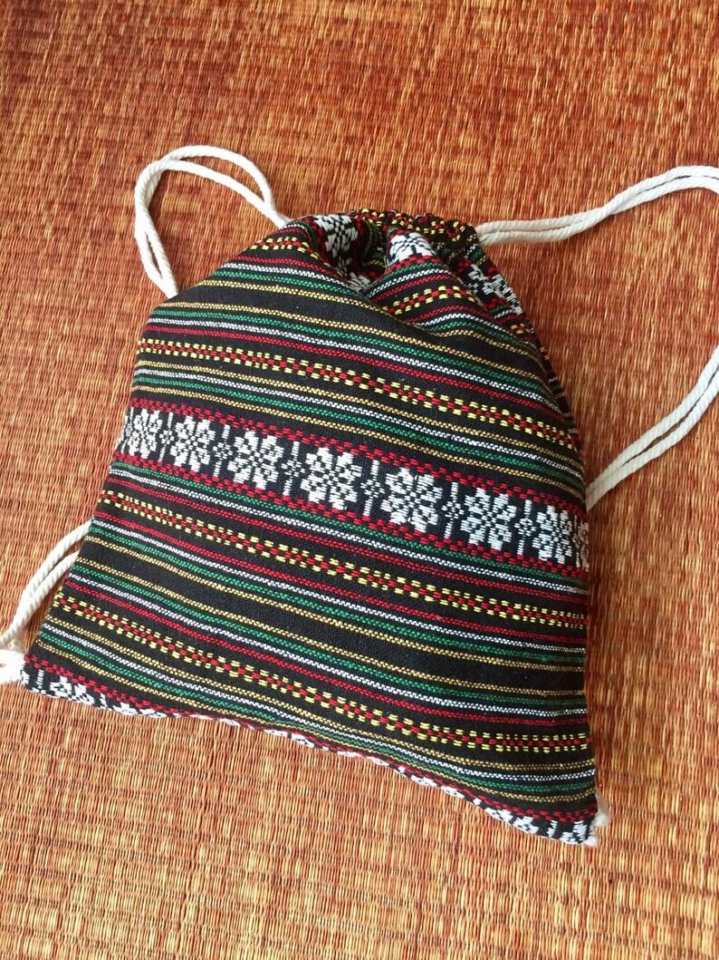 6671c18cd9b0 Drawstring Tribal Backpack Boho Ethnic Festival bag Ethnic pattern Rucksack  Folk Woven Hippie Styles Gypsy Nepali fabric Tote Bohemian green