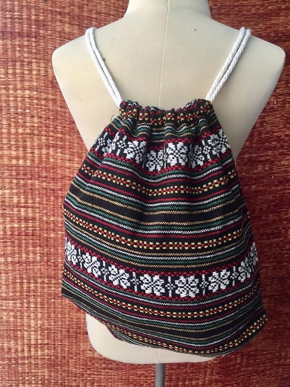 Drawstring Tribal Backpack Boho Ethnic Festival bag Ethnic   Etsy c6742f4aca