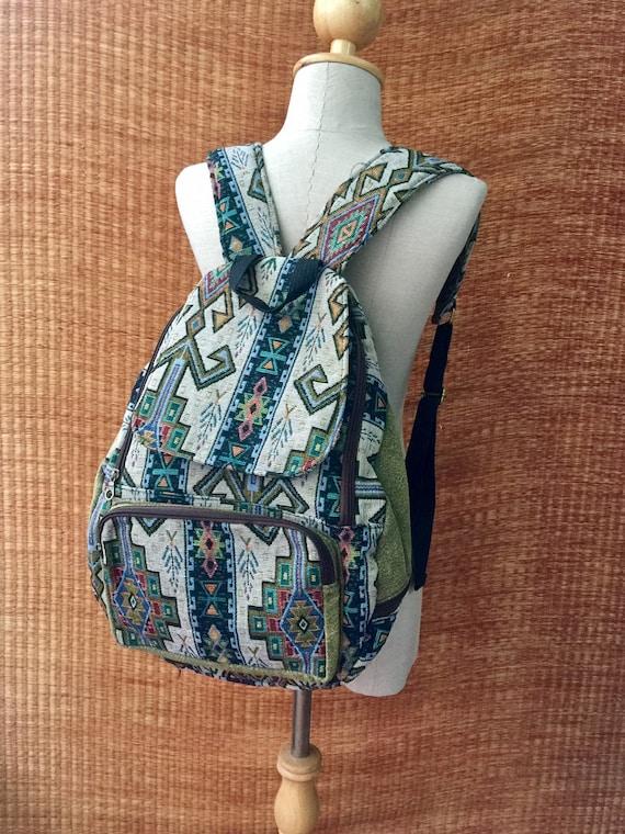 Tribal Woven Backpack Boho Aztec hippie Southwestern Baja pattern Style Ruck Sack Student School daypack Gift for Bohemian Traveler festival