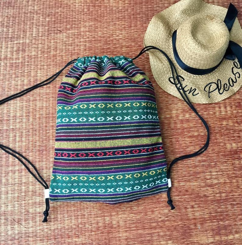 5c2a2b5aa105 Aztec Boho Drawstring Backpack Shopping Bag Woven Hippie Festival Tribal  Vegan Bucket handmade Beach Tote Nepali bag Gift for Men Women chic