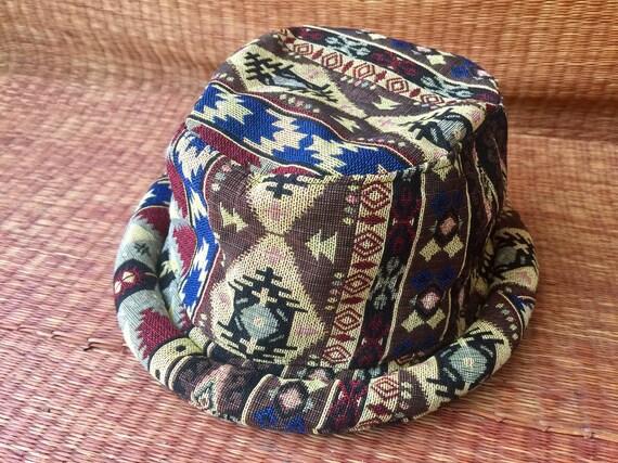 91d6ff3d09f Bucket Hat boho Roll brim Tribal Southwestern Bohemian Hippie