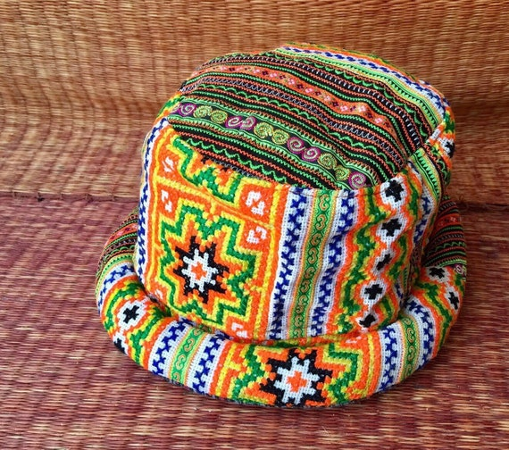998b1439a25 Colorful Bucket Roll brim Hat Hippie boho Style Tribal