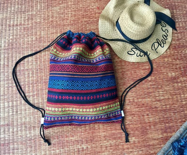 f322aae5fcd1 Backpack Aztec Festival Boho Drawstring Bags Ikat Ethnic fabric Woven  Hippie Bohemian Styles Rucksack Hipster Nepali Tote Bohemian Hmong