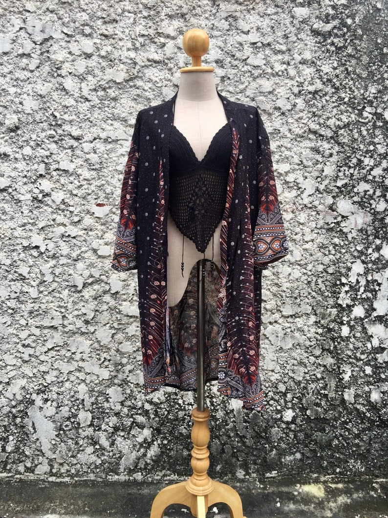 a4bca5fb9 Hippie Cardigan Gypsy Bohemian Boho style Oversize Unisex Plus size Beach  Kimono Cover Up Tribal Gift for Men burning man festival Vegan