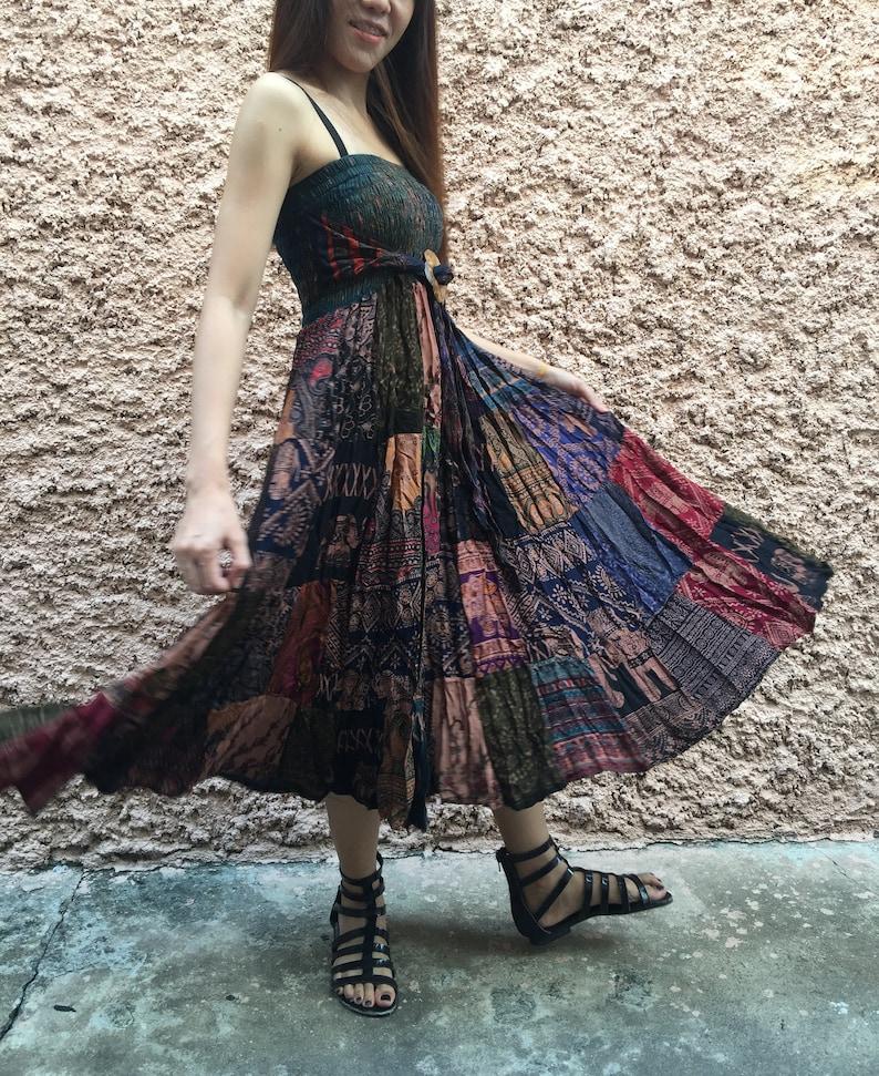 f014156fad Hippie Patchwork maxi Skirt Dress Festival Boho handmade