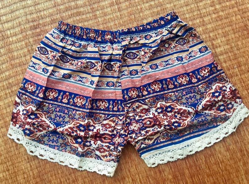 Ethnic Unique Boho Cute Lace Shorts Summer Beach wear Fashion Tribal Aztec Bohemian Ikat Festival Style Women shorts Gift for her