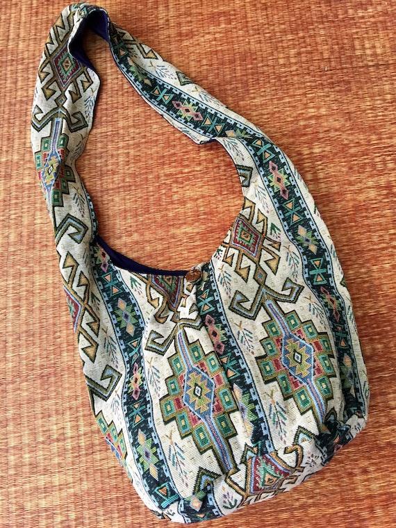 Aztec Crossbody Hippie Hobo Sling Bag Ikat Boho Shoulder Yoga Thai Hobo Book Bag