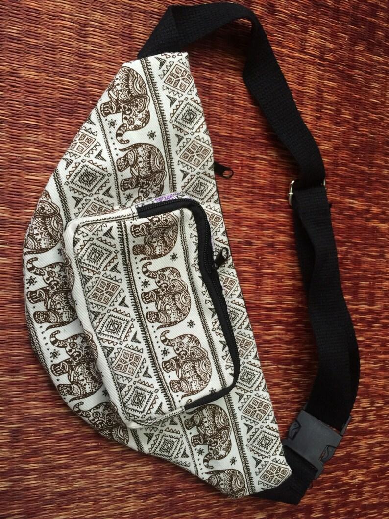 Fanny pack Brown elephants printed Hip bag Boho bum bag Sac banane Hipster Styles belt belly Pouch Travel phanny waist bags Ikat Unisex Men