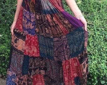 Boho Patchwork skirt,Maxi Dress,patchwork dress,Hippie Skirt,Elephant,Bohemian dress,festival,gypsy dress,vegan gift,Freespirit Handmade