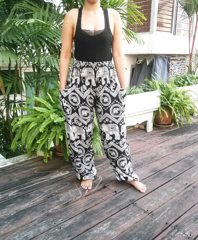 PJ T-shirt Men For Holiday Beach Yoga Hippie Cotton White Color Short sleeve Elephant paint Thai