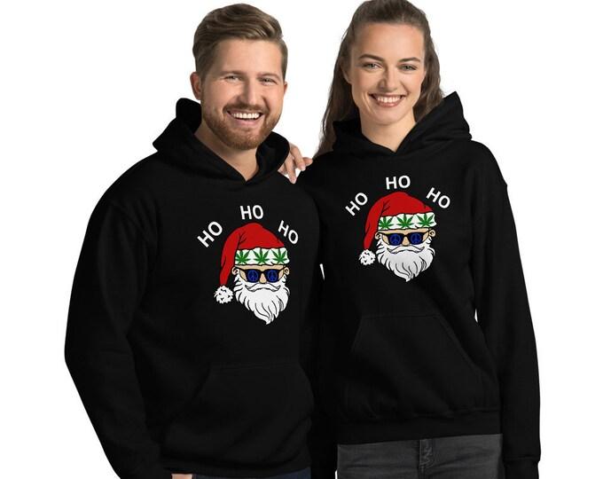 Stoner Santa Claus Hooded Sweatshirt, Unisex Weed Sweatshirt Cannabis Christmas 2019, Weed Christmas Hoodie, Sizes to 5XL