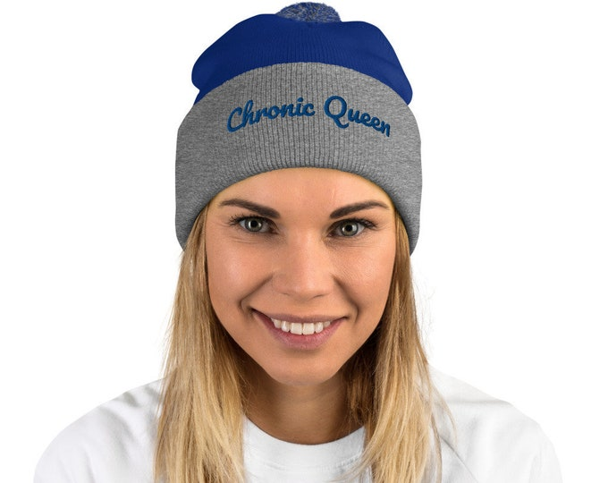 Ladies Chronic Queen Beanie, 420 Ladies Winter Hat, Chronic Xmas Gift for Ladies, Womens Weed Hat