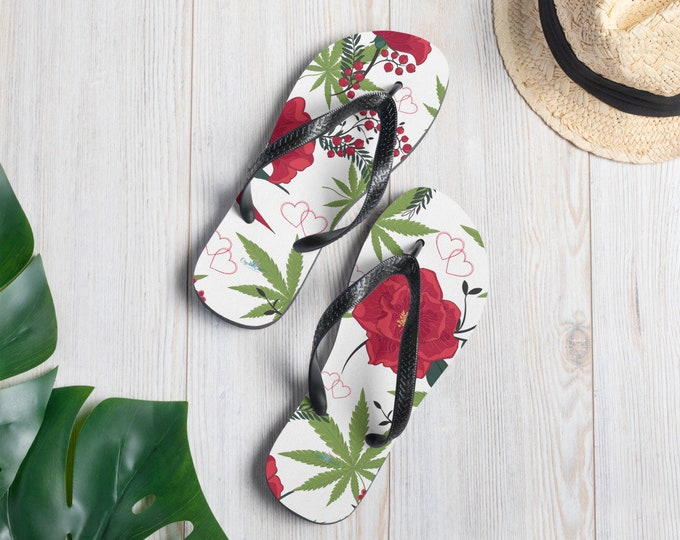 Cannabis and Roses Flip-Flop Sandals by Twisted420Glass