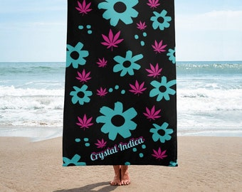 High Flowered Summer Vibes Beach Towel, 30x60 Pool Towels