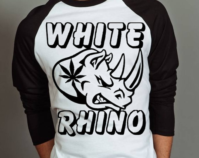 Weed T-shirt - White Rhino Mens 3/4 Sleeve Jersey - Weed Gifts - Stoner T-Shirts