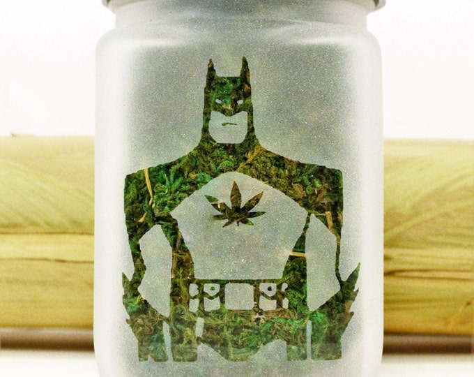 Batman Stash Jar with Pot Leaf