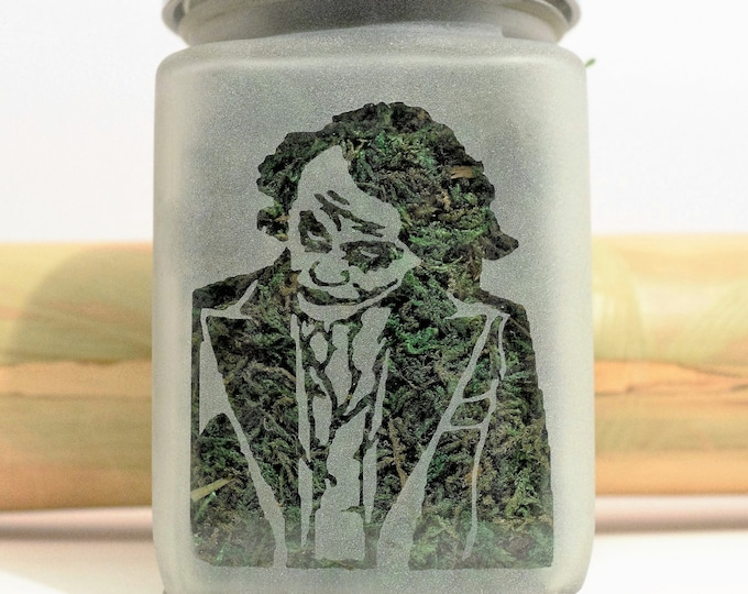 Heath Ledger Joker Etched Glass Stash Jar - Batman Inspired Weed Accessories and Stoner Gifts - Airtight, Smell Resistant Jars