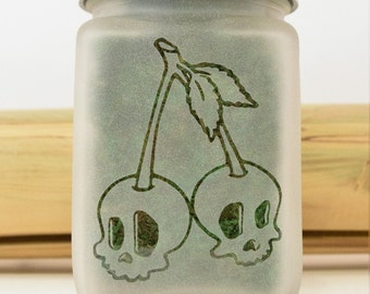 Skull Cherries Stash Jar - Weed Accessories, Stash Jars, Stoner Gifts, Weed Jars, Stoner Accessories - Ganja Gifts