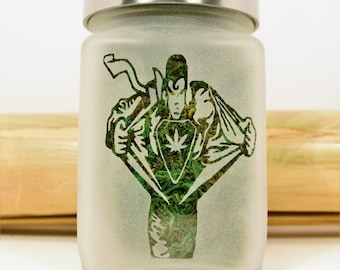 Superman Transformation with Pot Leaf Stash Jar - Weed Accessories & Stoner Gifts - Cannabis and Medicated Edibles Storage