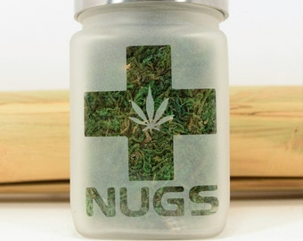 Nugs Stash Jars for Weed - Cannabis Edibles Canister - Weed Accessories, Stash Jar and Stoner Gifts - Cannabis Edibles Weed Jars