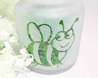 Sweet Bee Etched Glass Jar - Ladies Storage Accessories, 420 Gifts for Her, Cute Birthday Gifts
