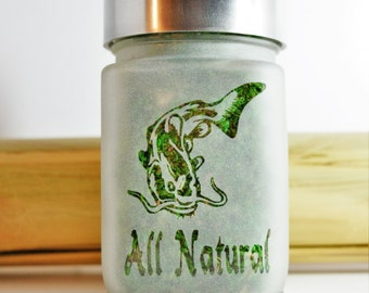 Catfish All Natural Stash Jar, Nature Lovers Weed Accessories & 420 Airtight Jars, Outdoors Man Cannabis Themed Stoner Gifts